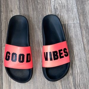 "PINK ""Good Vibes"" slides"